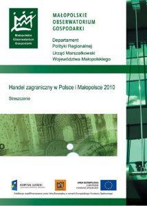 """Okładka raportu: """"Handel zagraniczny w Polsce i Małopolsce w 2010 r."""""""