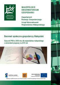 """Okładka raportu: """"Szacunki PKB w 2009 roku dla województwa małopolskiego z elementami prognozy na 2010 r."""""""