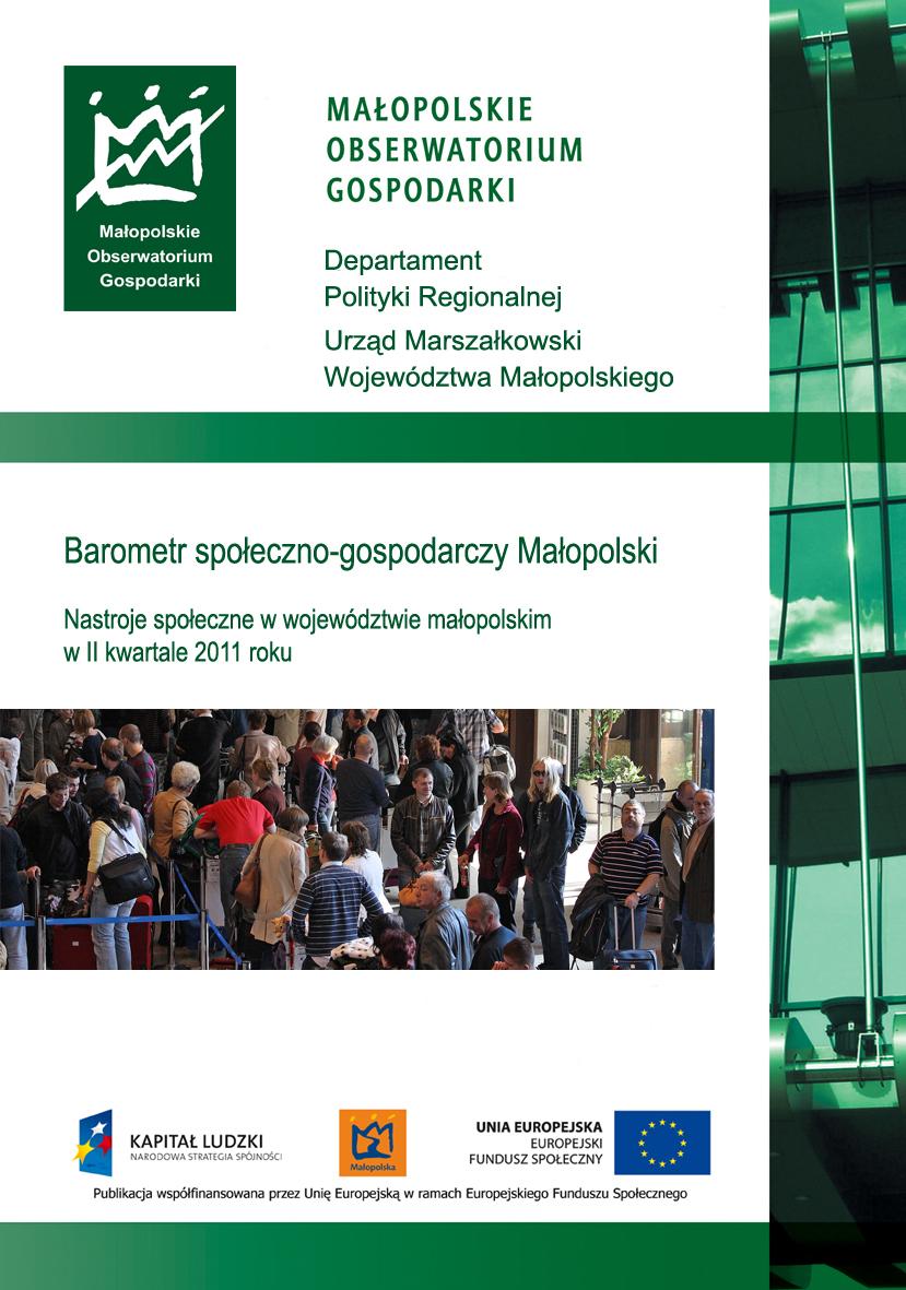 """Okładka raportu: """"Nastroje społeczne w województwie małopolskim w II kwartale 2011 roku"""""""