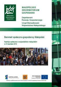 """Okładka raportu: """"Nastroje społeczne w województwie małopolskimIII kwartał 2010"""""""