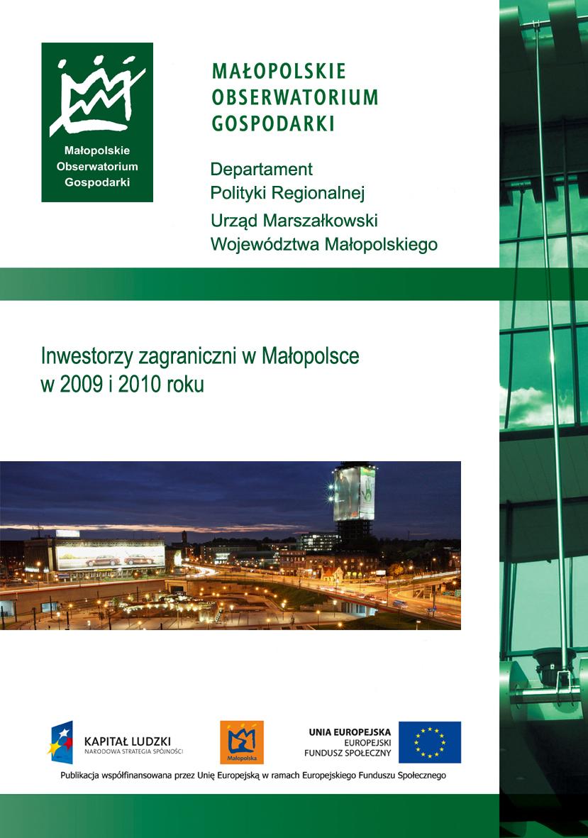 """Okładka raportu: """"Inwestorzy zagraniczni w Małopolsce w 2009 r. i 2010 r."""""""