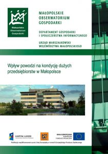 """Okładka raportu: """"Wpływ skutków powodzi na kondycję dużych przedsiębiorstw w Małopolsce"""""""