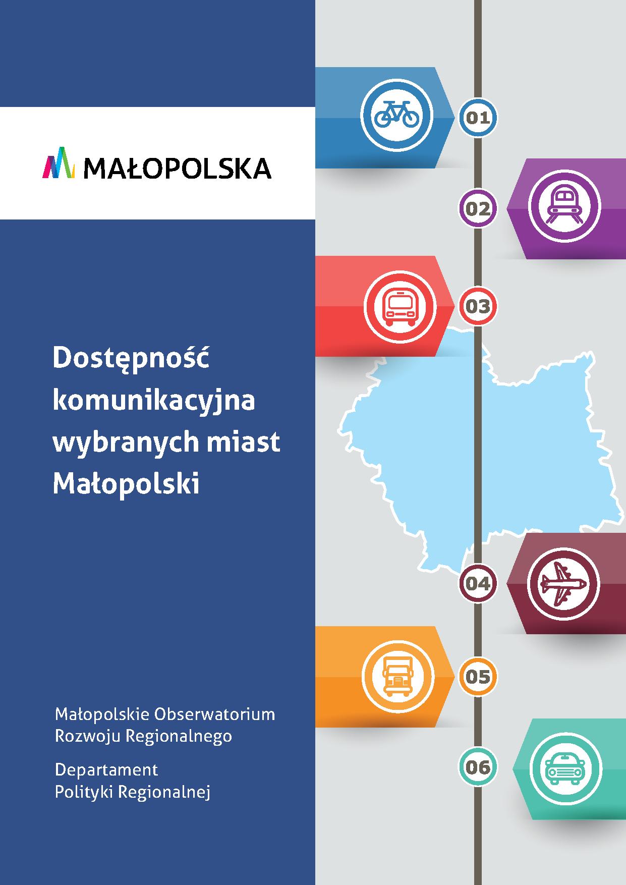 okładka publikacji Dostępność komunikacyjna wybranych miast Małopolski