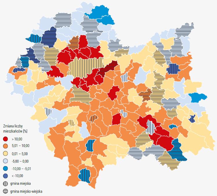 Mapa - prognozowana zmiana liczby mieszkańców w gminach województwa małopolskiego w latach 2016-2030