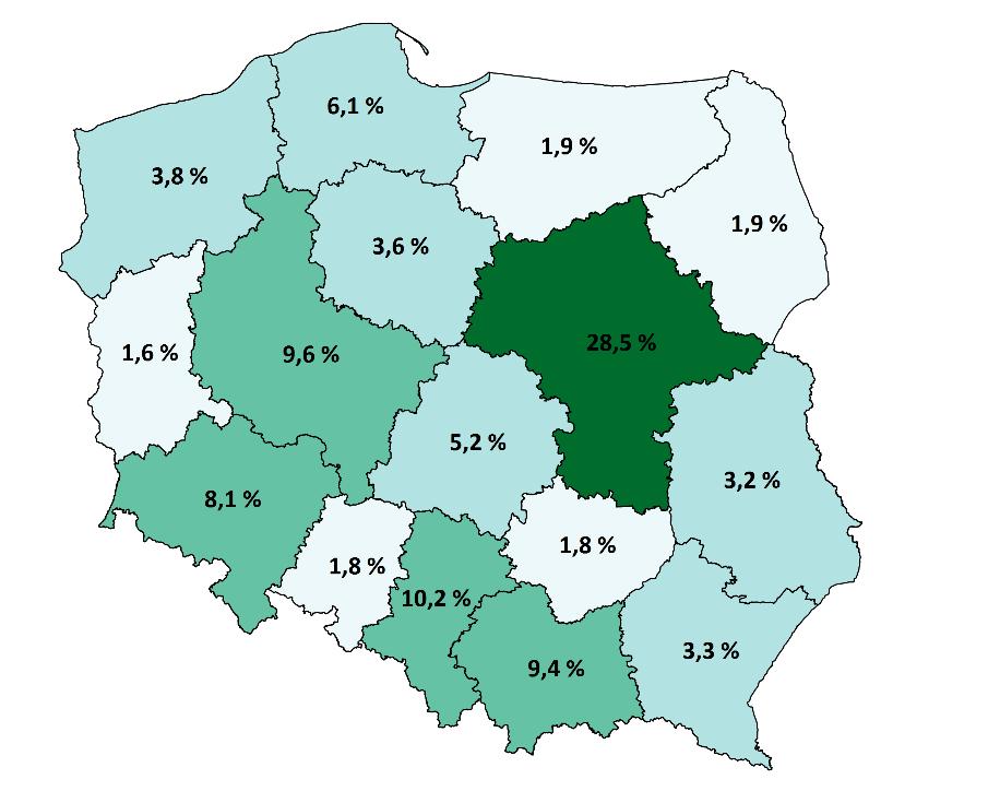 Mapa przedstawia odsetek podmiotów gospodarczych zaliczonych do przemysłów kreatywnych w podziale na województwa w 2016 r.