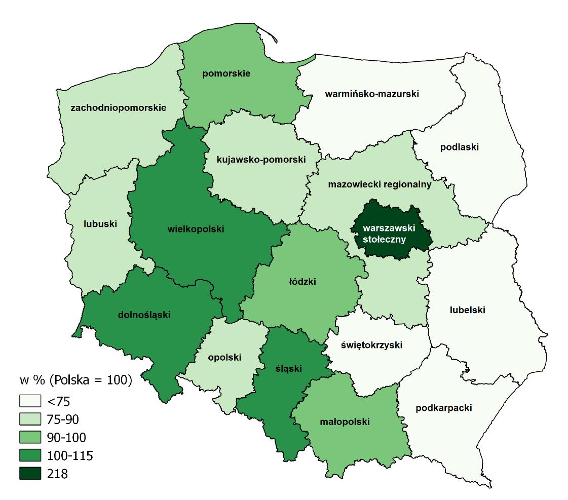 Mapa przedstawia wskaźniki Produktu Krajowego Brutto per capita (ceny bieżące) w regionach w 2016 r.