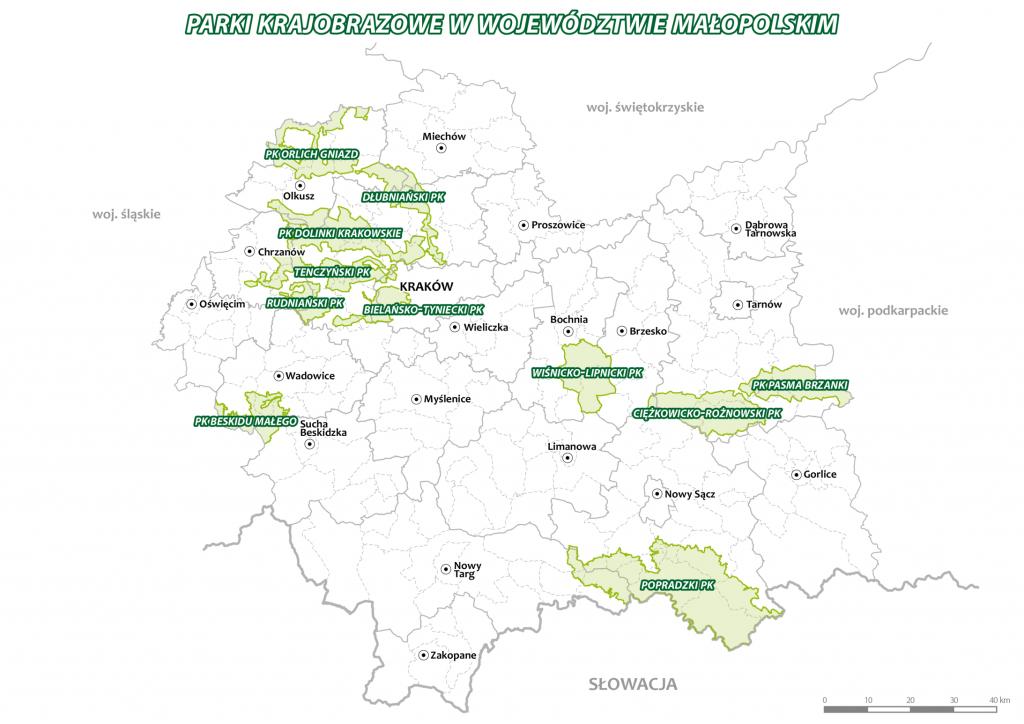 Mapa parków krajobrazowych w województwie małopolskim