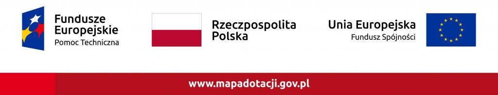 Logotyp ze znakami Pomocy Technicznej, rzeczpospolitej Polskiej, Unii Europejskiej