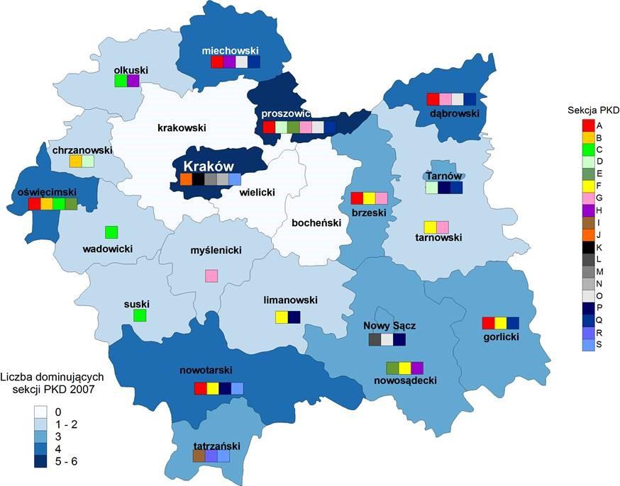 Dominujące sekcje PKD 2007 wśród podatników podatku dochodowego wg powiatów województwa małopolskiego