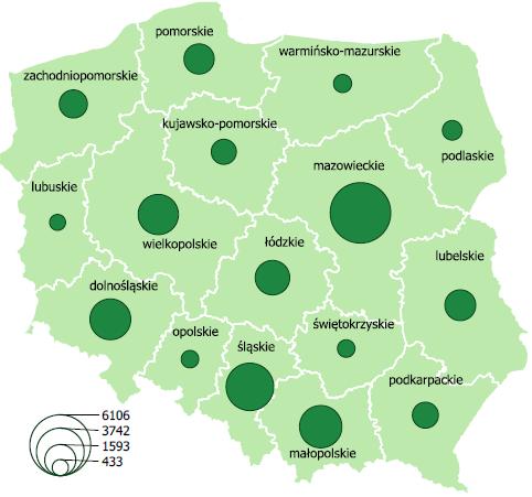 Mapa Liczba zgłoszonych wynalazków w latach 2012-2018 w przekroju regionalnym