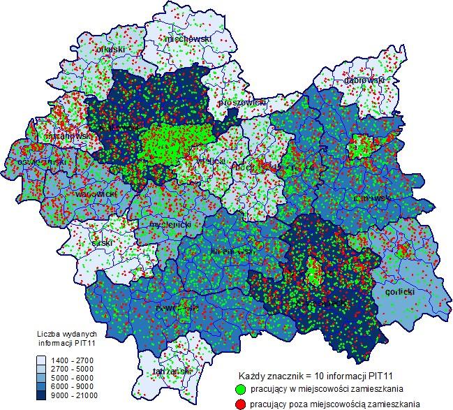 Informacje PIT-11 wydane mieszkańcom Małopolski przez firmy działające w ramach sekcji F Budownictwo