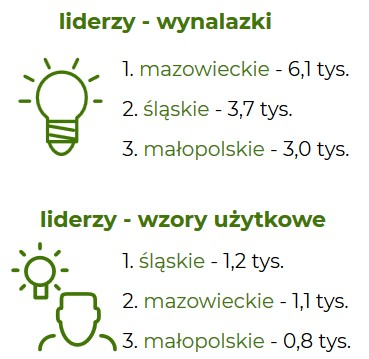 Rycina Krajowi liderzy z zakresu liczby zgłaszanych wynalazków i wzorów użytkowych w latach 2012-2018