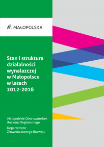 okładka raportu Stan i struktura działalności wynalazczej w Małopolsce w latach 2012-2018