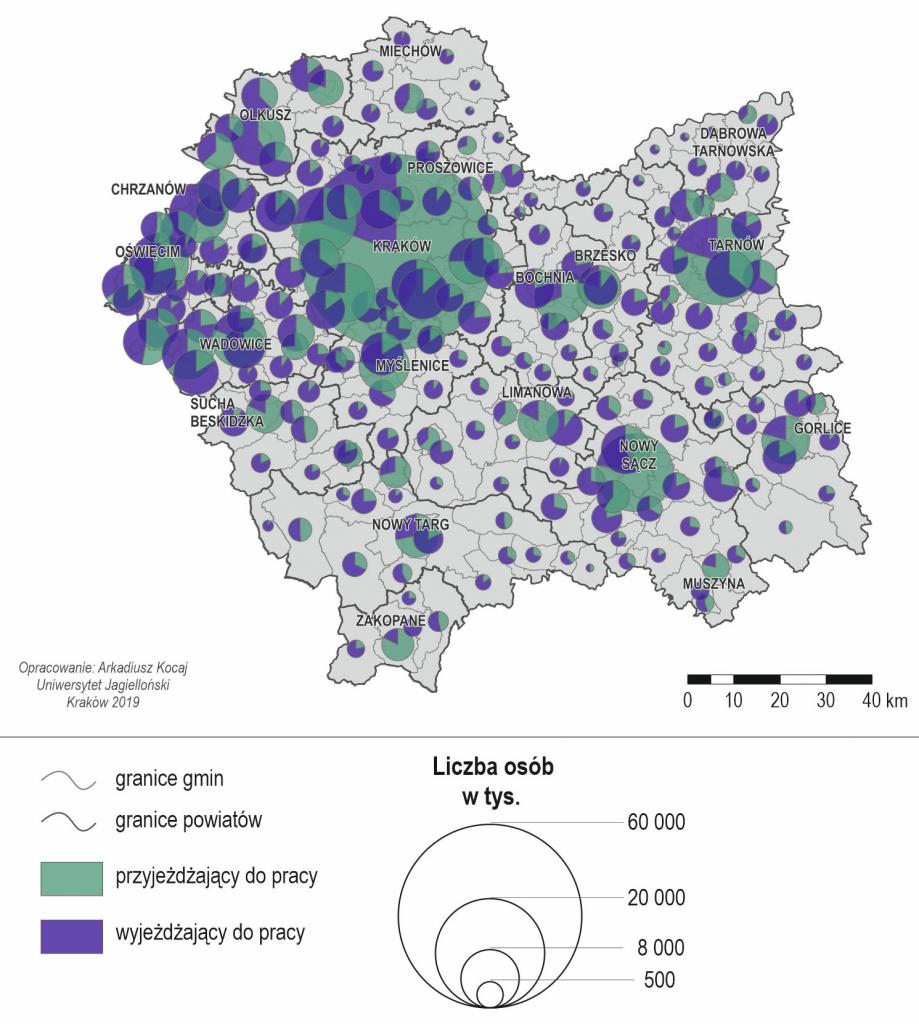 Przyjeżdżający i wyjeżdżający do pracy do/z innej gminy w województwie małopolskim w 2016 r.