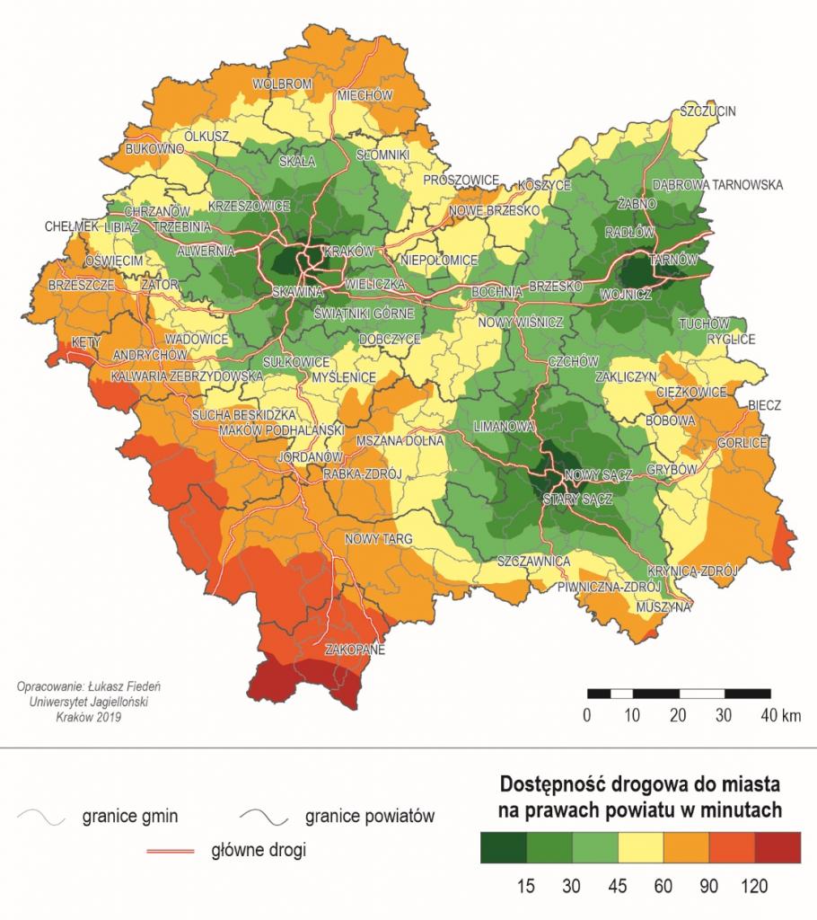 Dostepność drogowa do miast na prawach powiatu w minutach