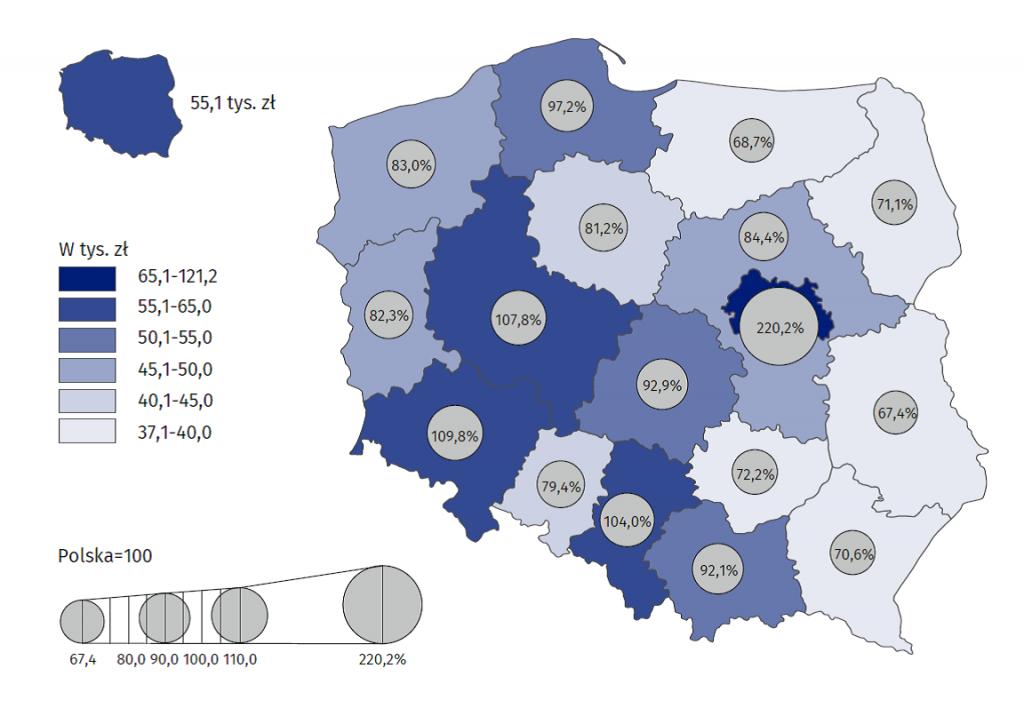 Produkt krajowy brutto na 1 mieszkańca według regionów w 2018 r. (ceny bieżące)
