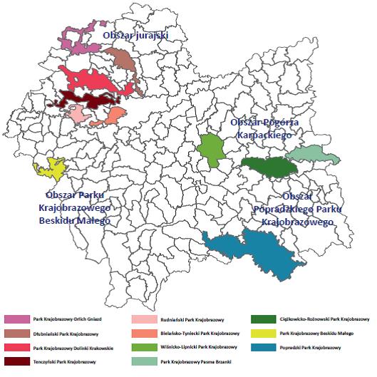 Mapa Małopolski przedstawia położenie obszarów terytorialnych i parków krajobrazowych na tle województwa małopolskiego