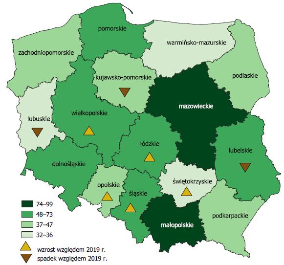 mapa regionów w Polsce
